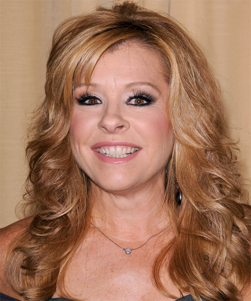 Leigh Anne Tuohy Long Wavy Formal   Hairstyle with Side Swept Bangs  - Light Brunette (Copper)