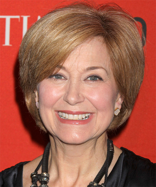 Jane Pauley Short Straight Layered   Golden Blonde Bob  Haircut with Side Swept Bangs