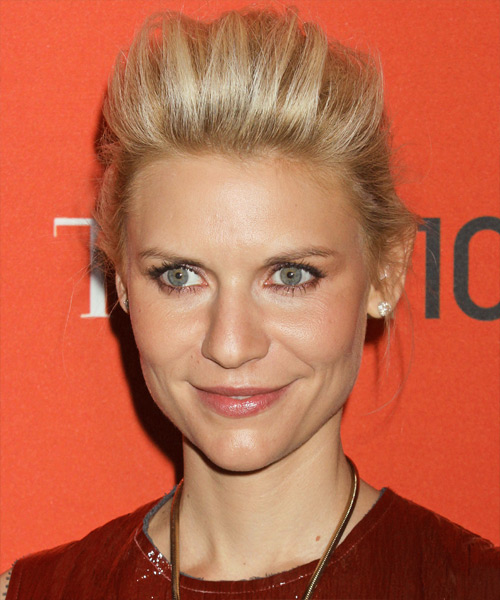 Claire Danes Formal Long Straight Updo Hairstyle Golden