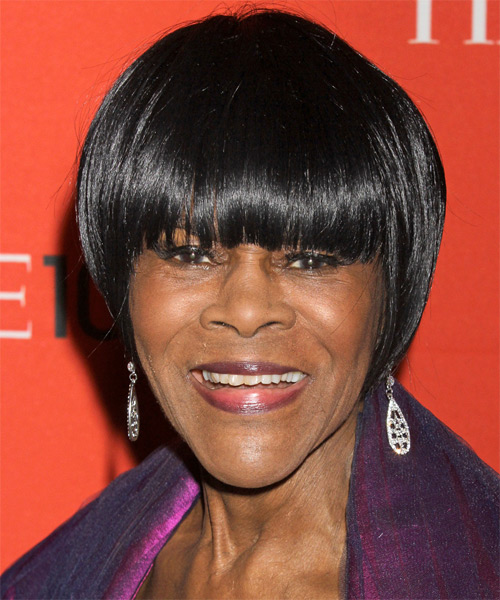 Cicely Tyson Short Straight Formal Bob  Hairstyle with Blunt Cut Bangs  - Black