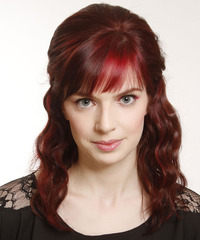 Medium Curly Casual   Half Up Hairstyle with Layered Bangs  - Dark Red Hair Color