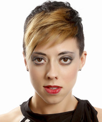 Short Straight Alternative  Undercut  Hairstyle with Side Swept Bangs  - Dark Brunette and  Blonde Two-Tone Hair Color