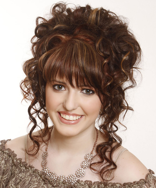 Long Curly Formal   Updo Hairstyle with Layered Bangs  -  Chestnut Brunette Hair Color with Light Brunette Highlights