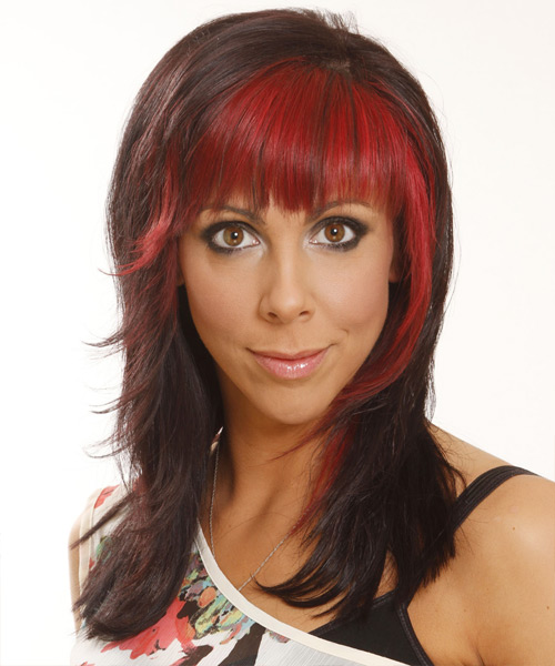 Long Straight Casual  Emo  Hairstyle with Layered Bangs  -  Chocolate Brunette and  Red Two-Tone Hair Color