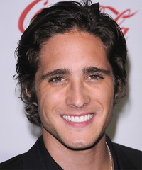 Diego Boneta Medium Wavy Casual    Hairstyle   - Dark Brunette Hair Color