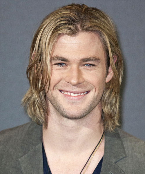 Chris Hemsworth Long Straight Casual    Hairstyle   -  Blonde Hair Color with Light Blonde Highlights