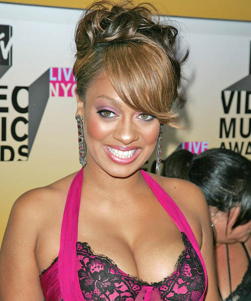 La La Anthony Updo Long Curly Formal  Updo Hairstyle