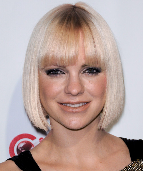 Anna Faris Short Straight Formal Bob  Hairstyle with Blunt Cut Bangs  - Light Blonde (Platinum)