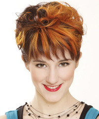 Short Curly Formal    Hairstyle with Layered Bangs  - Dark Ginger Brunette and Orange Two-Tone Hair Color
