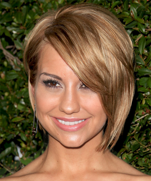 Chelsea Kane Short Straight   Dark Golden Blonde Bob  Haircut with Side Swept Bangs  and Light Blonde Highlights