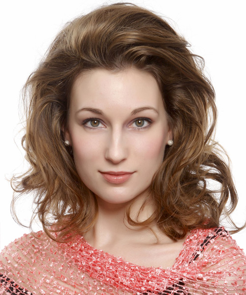 Medium Wavy Casual   Hairstyle   - Light Brunette (Caramel)