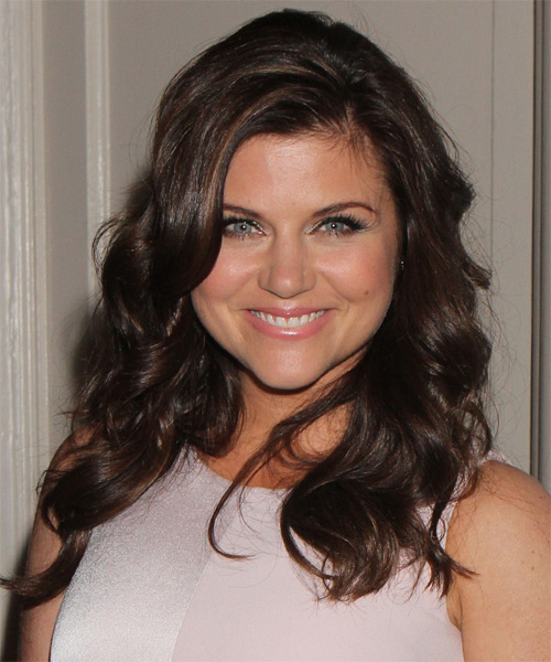 Tiffani Thiessen Long Wavy Formal   Hairstyle   - Dark Brunette (Mocha)