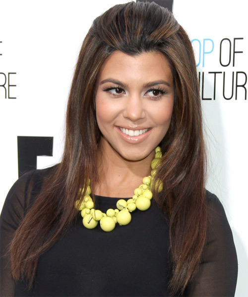 Kourtney Kardashian Long Straight Casual    Hairstyle   - Dark Brunette Hair Color with Light Brunette Highlights