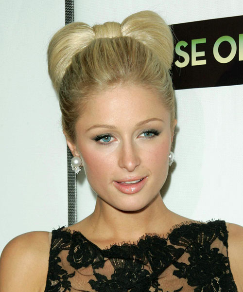 Paris Hilton  Medium Straight Formal   Updo Hairstyle