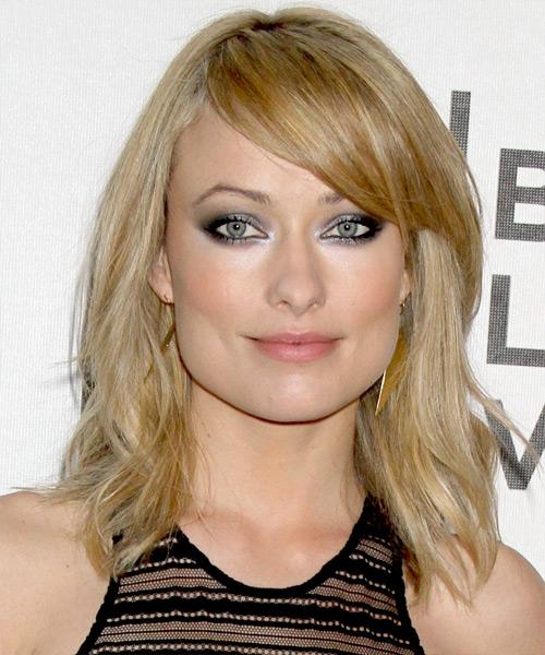 Olivia Wilde Medium Straight Casual    Hairstyle with Side Swept Bangs  -  Golden Blonde Hair Color with Light Blonde Highlights