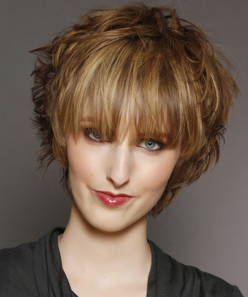 Short Straight   Light Golden Brunette   Hairstyle with Blunt Cut Bangs  and Light Blonde Highlights