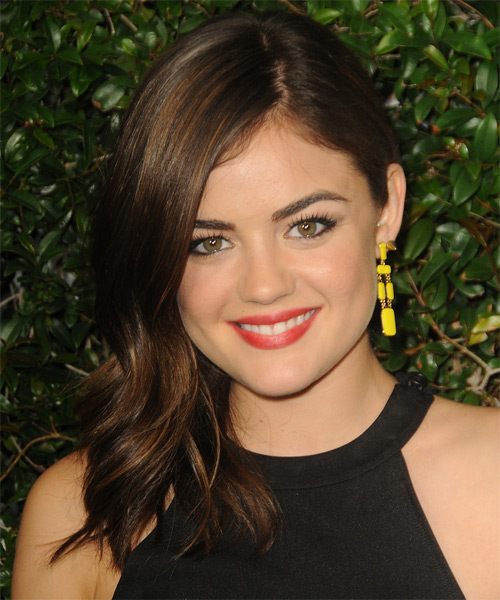 Lucy Hale Long Straight Hairstyle For Triangular Or Pear Face Shape