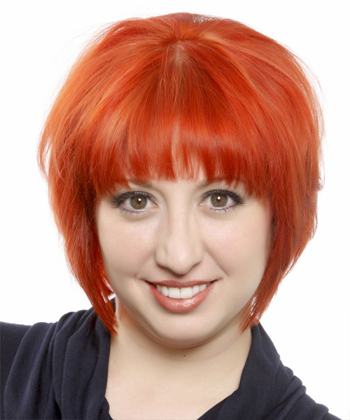 Short Straight Casual Bob  Hairstyle with Blunt Cut Bangs  - Orange