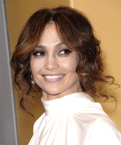 Jennifer Lopez  Medium Curly Formal   Updo Hairstyle