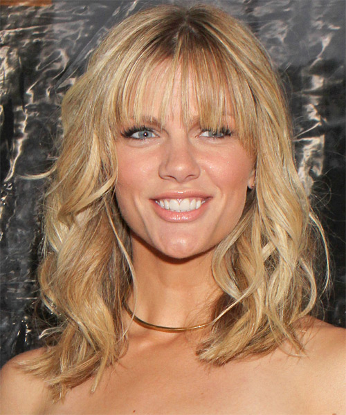 Brooklyn Decker Medium Wavy Casual    Hairstyle   - Medium Golden Blonde Hair Color with Light Blonde Highlights
