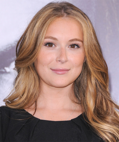 Alexa Vega Long Straight Casual    Hairstyle   - Light Copper Brunette Hair Color with Light Blonde Highlights