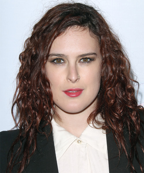 Rumer Willis Long Curly Casual    Hairstyle   -  Chocolate Brunette Hair Color