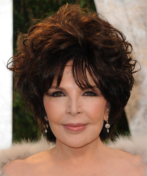 Carole Bayer Sager Short Wavy    Auburn Brunette   Hairstyle with Layered Bangs