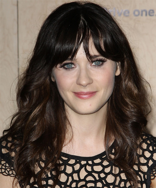 Zooey Deschanel Long Wavy Casual   Hairstyle with Layered Bangs  - Dark Brunette (Mocha)
