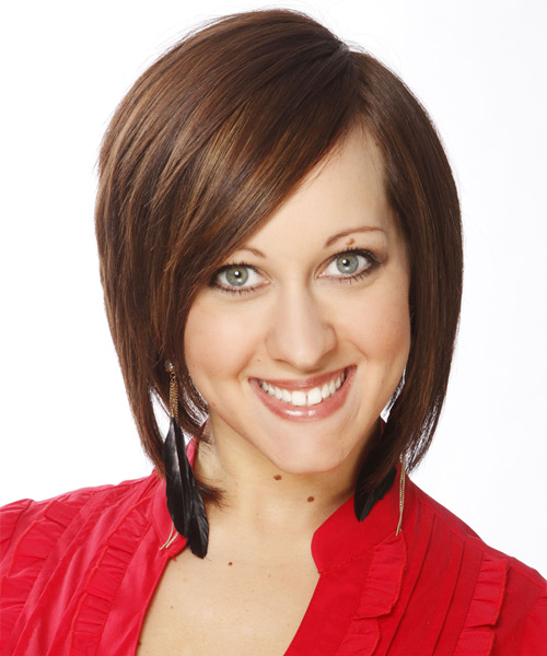 Medium Straight Layered   Chestnut Brunette Bob  Haircut