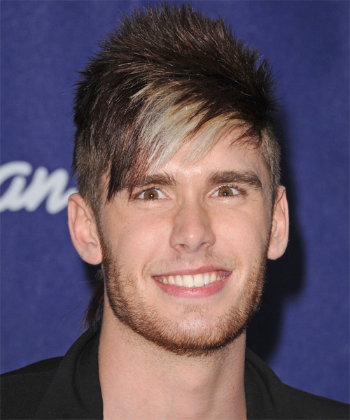 Colton Dixon  Short Straight Alternative  Emo  Hairstyle with Side Swept Bangs  - Dark Brunette Hair Color with Light Blonde Highlights