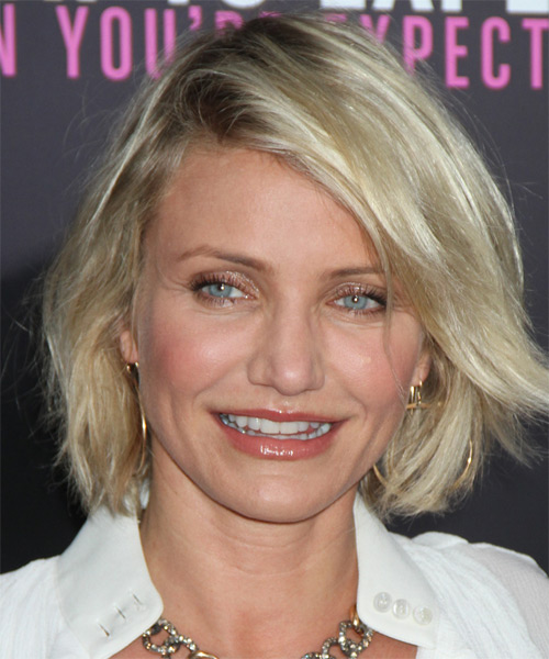 Cameron Diaz Short Straight Casual    Hairstyle   - Light Ash Blonde Hair Color with Light Blonde Highlights