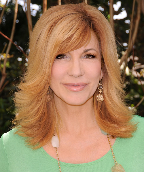 Leeza Gibbons Medium Straight Formal    Hairstyle with Side Swept Bangs  -  Copper Blonde Hair Color
