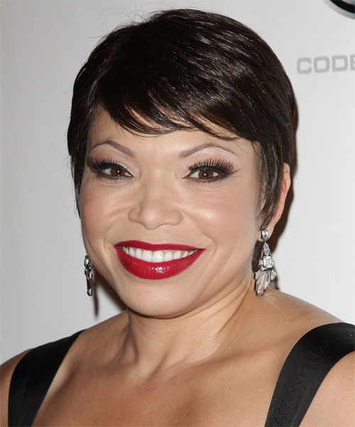 Tisha Campbell Short Straight Formal   Hairstyle with Side Swept Bangs  - Dark Brunette (Mocha)