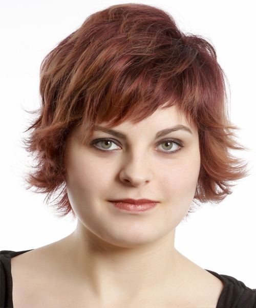 Short Straight Casual    Hairstyle with Razor Cut Bangs  - Burgundy Hair Color