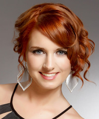 Medium Curly Formal   Updo Hairstyle with Side Swept Bangs  -  Copper Red Hair Color