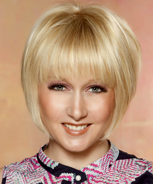Short Straight   Light Golden Blonde Bob  Haircut with Layered Bangs  and Light Blonde Highlights
