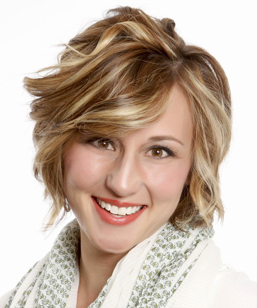 Short Wavy Formal Bob  Hairstyle with Side Swept Bangs  - Medium Brunette (Caramel)