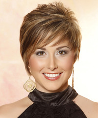 Short Straight    Caramel Brunette   Hairstyle with Side Swept Bangs  and  Blonde Highlights