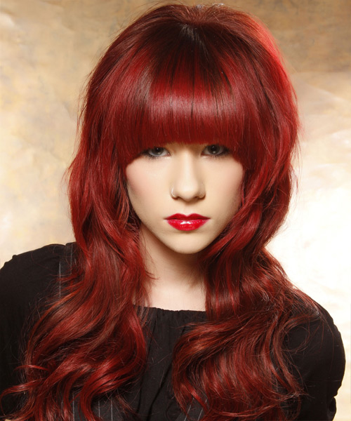 Long Wavy Casual   Hairstyle with Blunt Cut Bangs  - Medium Red (Bright)