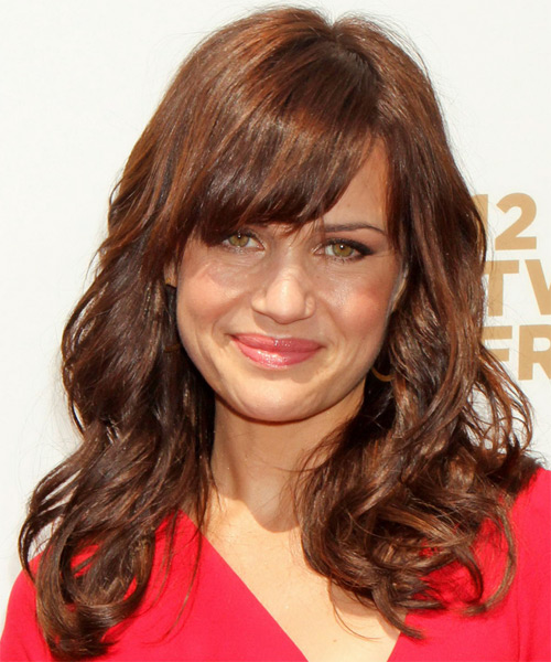 Carla Gugino Long Wavy Casual    Hairstyle with Blunt Cut Bangs  -  Chestnut Red Hair Color