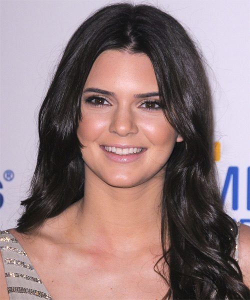 Kendall Jenner Long Wavy Casual    Hairstyle   - Dark Brunette Hair Color