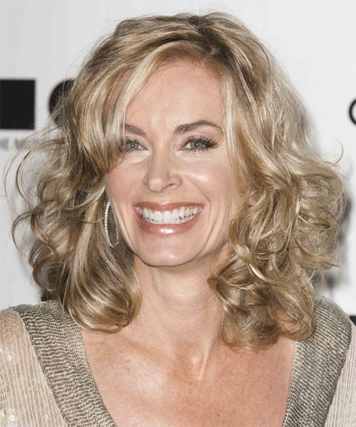 Eileen Davidson Medium Curly Casual    Hairstyle   -  Ash Blonde Hair Color with Light Blonde Highlights