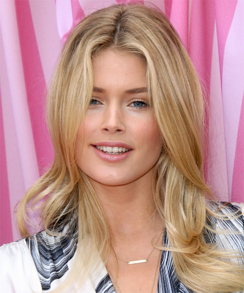 Doutzen Kroes Long Straight Casual    Hairstyle   -  Golden Blonde Hair Color with Light Blonde Highlights