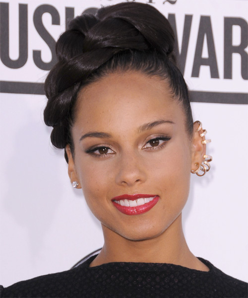Alicia Keys  Long Straight   Dark Mocha Brunette Braided Updo