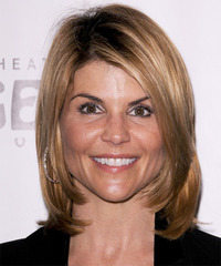 Lori Loughlin Medium Straight Formal Layered Bob  Hairstyle   - Dark Caramel Blonde Hair Color with Light Blonde Highlights