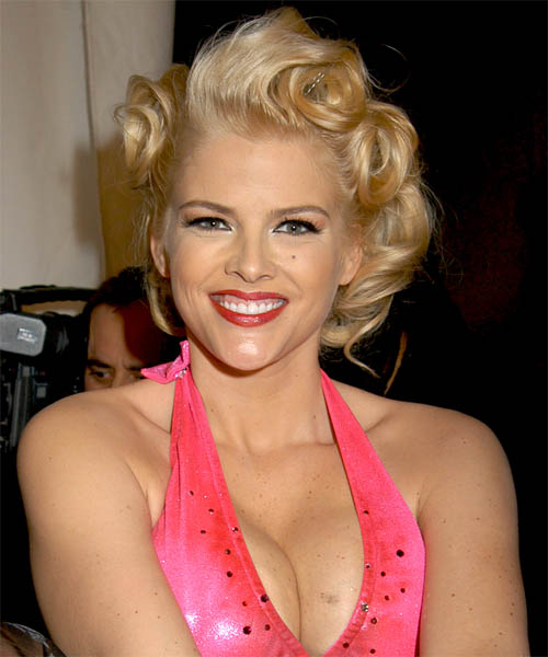 Anna Nicole Smith Medium Wavy Formal  Updo Hairstyle