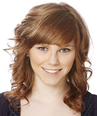 Medium Curly Formal    Hairstyle with Side Swept Bangs  - Light Caramel Brunette Hair Color