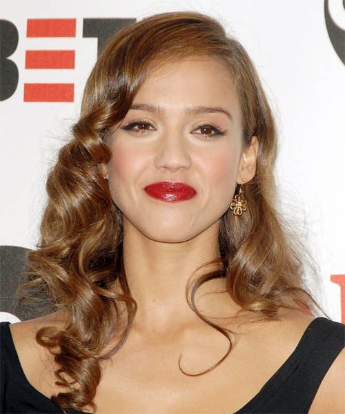 Jessica Alba Long Wavy Formal   Hairstyle   - Medium Brunette (Caramel)
