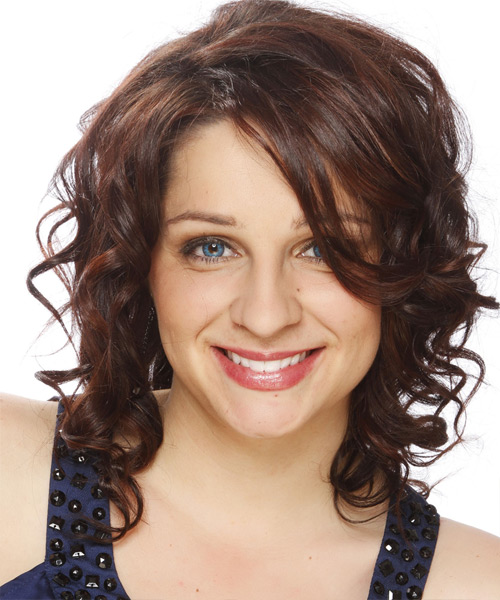 Medium Curly   Dark Chocolate Brunette   Hairstyle