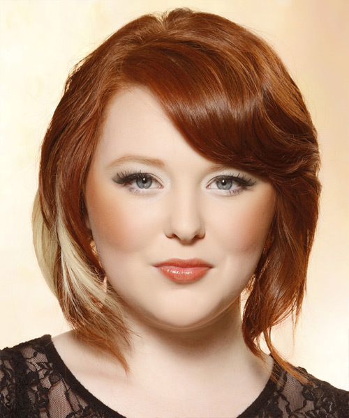 Medium Straight Layered   Copper Red Bob  Haircut with Side Swept Bangs  and Light Blonde Highlights